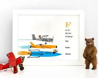 1960's Children's Alphabet Illustration Print - F is for Fast