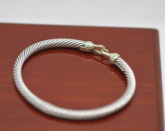 David Yurman 18k Yellow Gold 925 Cable Wire Hook Bracelet