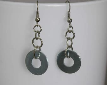 Washer Dangle and Drop Earrings Upcycled Nickel Free