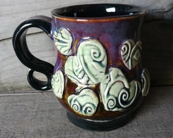 Handcrafted Boho Hearts Tall Belly Artisan Mug Wheel thrown Stoneware Pottery 15.5oz