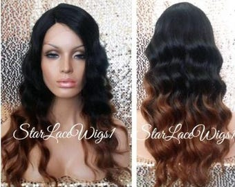Long Body Wave Ombre Lace Front Wig - Black Auburn - Two Toned - Side Part - Heat Resistant Safe - Color #1 & #30
