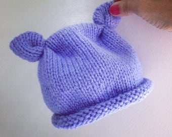 Baby hat with ears - LILAC