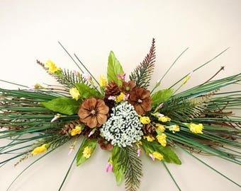 Spring/summer swag/ wall /door decor, pine cone flower swag