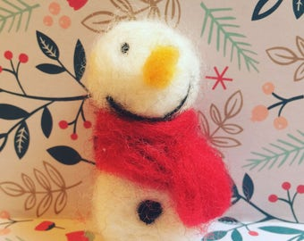 Needle felted wool snowman