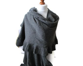 Grey knit wool shawl, large vintage women's wrap, warm ladies scarf, woman Winter fashion, Gift for Her