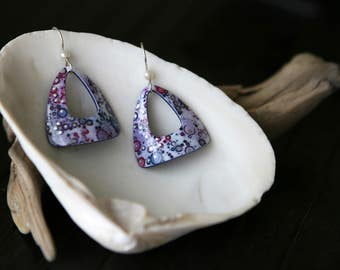 Purple Triangle Dangle Earrings - Small