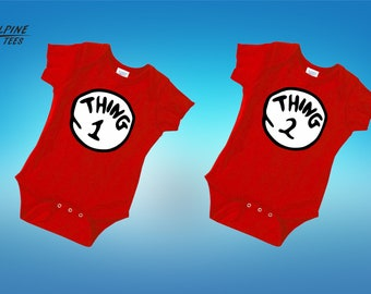 Thing 1 Thing 2 Shirt Thing 1 Shirt Baby Matching Shirts Twin Outfits Christmas Gift Matching Baby Outfit Baby Shower Gifts Baby Boy
