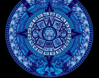 Aztec Calendar in New Blue