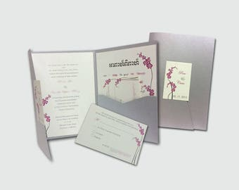 Purple Orchid Trifold Wedding Invitation Sutie # A8