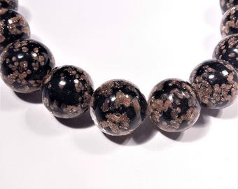 Beautiful Murano glass black aventurina 12mm round beads, venetian beads, Uk beads, 10beads.