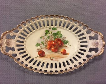 Decorative Dish, Cherries, Gold Colored Rim Dish, Fruit Dish, Vintage