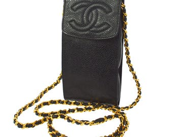 Chanel Vintage Authentic CC Logo Chain Shoulder Bag Cross Body Purse Pouch Case Black Gold Caviar Leather YG00604