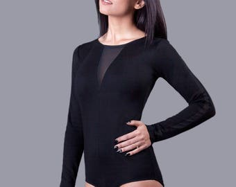 Black bodysuit /Elegant/ Gorgeous Bodysuit/ Mesh detailes/ handmade/ high-quality/ SphinxDesign.lt