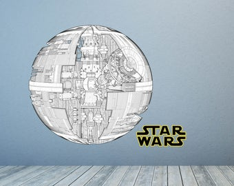 Death star decal etsy for Death star wall mural