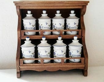Wood and porcelain Vintage Spice rack. France 1980