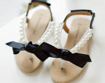 Ribbon Pearl Girls Sandals