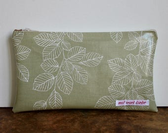 oilcloth, cosmetic bag small, make up, pencil case, zipper, leaves, washable ***