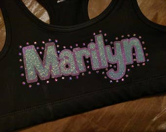 Adult Sports Bra with Custom Name with Rhinestones