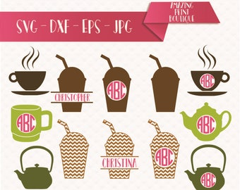 Coffee svg, Coffee monogram frames, Coffee pot cut files svg, Coffee mug svg, Coffee svg, eps, dxf, cricut, Coffee cup, but first coffee SVG