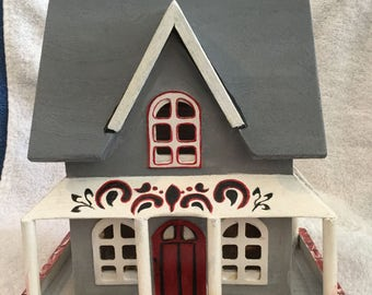 The Little Grey House in the Vale/ Hand Painted/ Wood