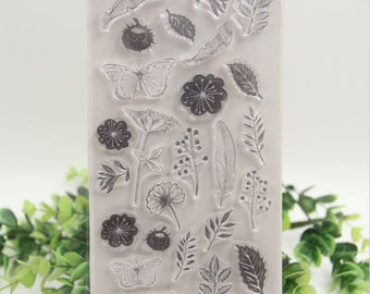 Flower Butterfly Leaves Transparent Clear Silicone Stamps for DIY Scrapbooking/Card Making