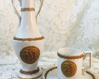 Rare Antique Beehive Mark Porcelain Demitasse Bud Vase U6097 and Teacup and Saucer U6088 - Cameo Bone China Arnart