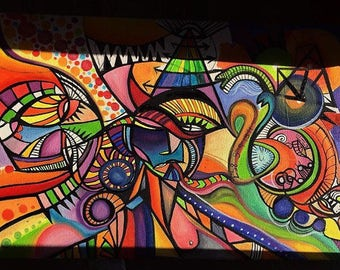 Bright colourful psychadelic painting