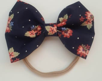 Navy Blue Floral Bow