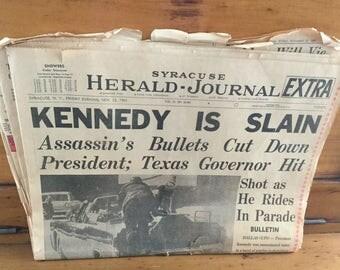 4 Syracuse Newspaper Headlines JFK Assassination