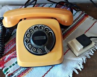 Vintage Rotary Telephone Yellow Rotary Phone