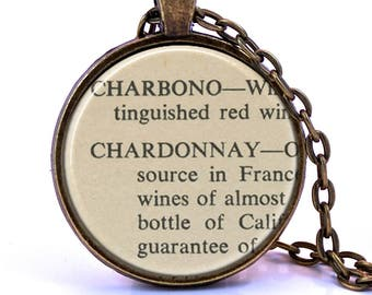 Chardonnay Dictionary Pendant Necklace
