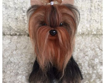 Yorkie sitting Gift Needle Felted Dog Felt Dog Sculpture Dog Lover Gift Needle Felted Animal