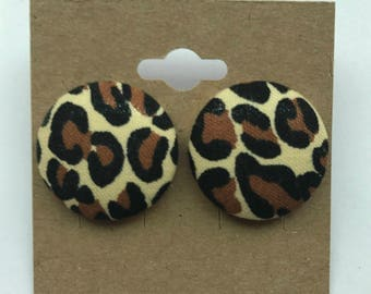 Animal Print Button Earrings
