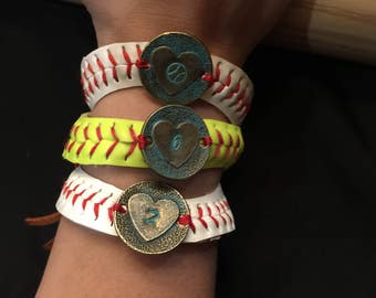 Personalized hand stamped and patina baseball seam bracelet