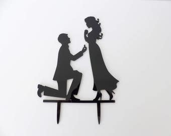 Black couple cake topper