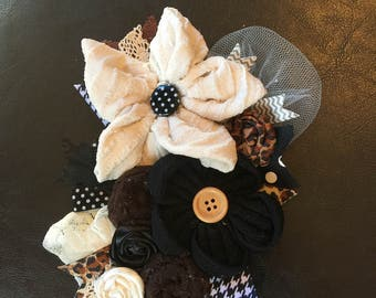 Cream Brown and Black Floral pin