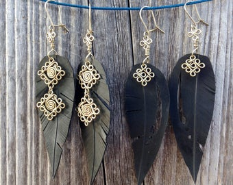 Feather earrings in recycled tire, inner tube,