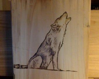 Wood-burning Artwork Wolf