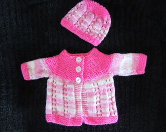 Baby Cardigan + Hat | Hand-Knitted | 0-3 Months