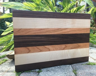 Handmade Hardwood Cutting Board - Walnut, Maple, Cherry