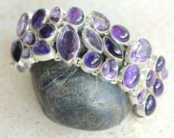 """925 Sterling Silver Amethyst Gemstone Bracelet Adjustable Size 7.5"""""""