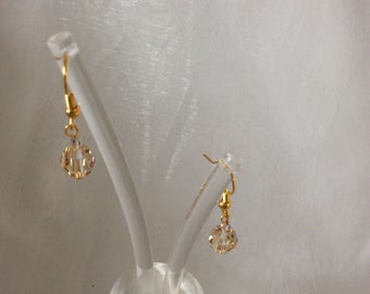 Earrings amber Swarovski crystal 8mm with a 1.5cm drop