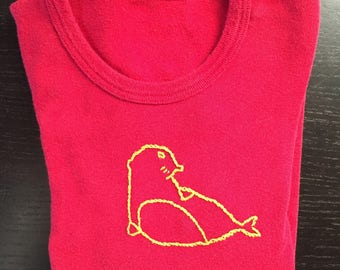Boy/girl t-shirt, hand embroidered