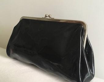 Vintage 80 's Black patent leather clutch Bag Clutch ' vintange 80 black