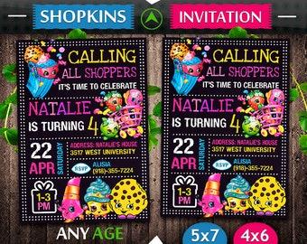 Shopkins Invitation, Shopkins Birthday, Shopkins Invite, Shopkins Party, Shopkins Printable, Shopkins Digital, Shopkins Card