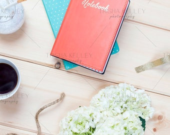 SET OF TWO: Orange and blue Notebook with hydrangea