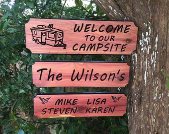 3 Piece Personalized Custom Carved Cedar Wood Rustic Outdoors Camping Family and Last Name Sign