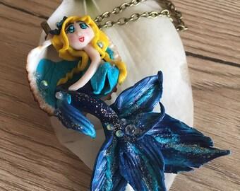 Blue Mermaid, mermaid, mermaid, siren blue fimo happy on sea