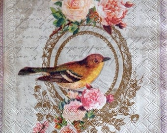 4x Paper Napkins for Decoupage Scrapbooking Craft Vintage Bird Cursive Script Flowers 125