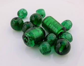 Vintage Glass Beads - Bottle Green, Beading, Jewellery Making, Necklace, Crafting - Great Condition
